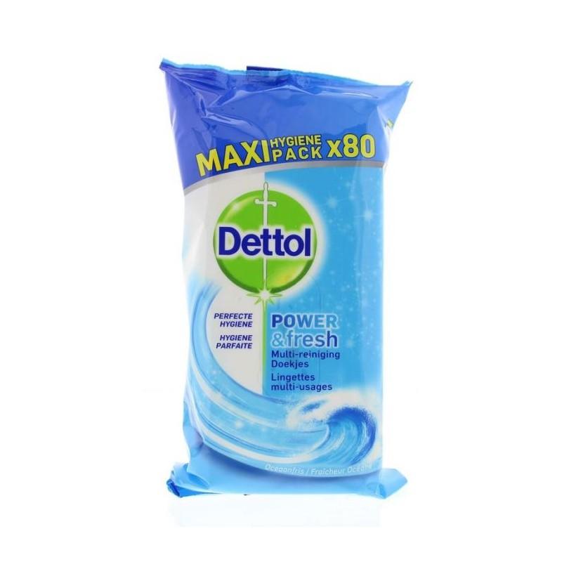 Dettol Power & Fresh Ocean Disinfectant Antibacterial Wipes Maxi Pack