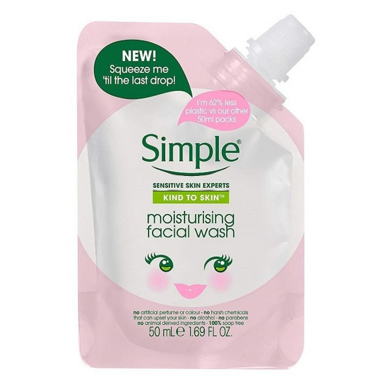 Simple Kind To Skin Moisturising Facial Wash Pouch