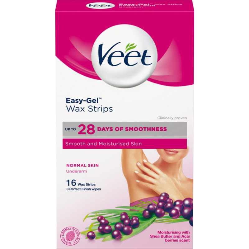 Veet Easy-Gel Wax Strips Underarm Normal Skin