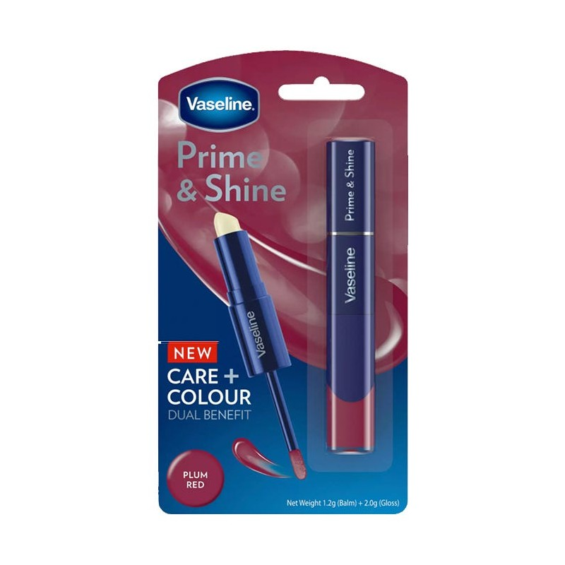Vaseline Prime & Shine 2in1 Lip Balm & Gloss Plum Red