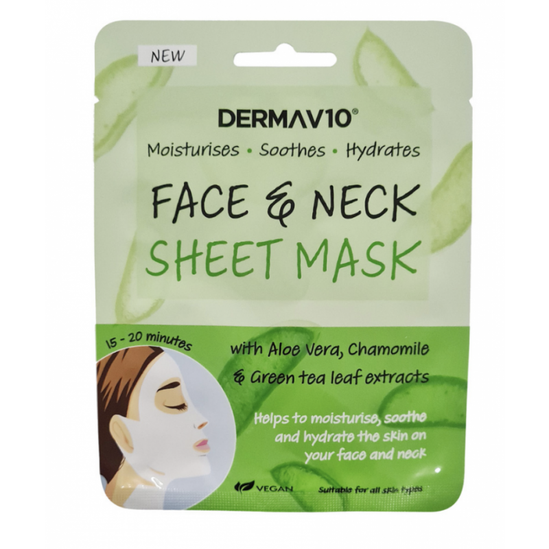 DermaV10 Aloe Vera Face And Neck Sheet Mask