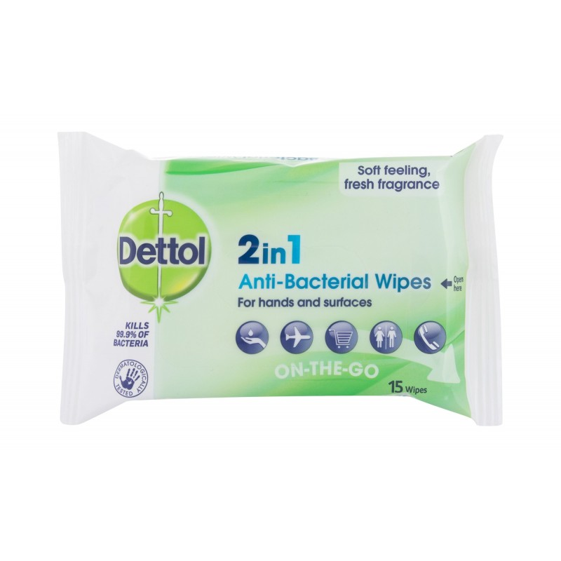 Dettol 2in1 Anti Bacterial Hand & Surface On The Go Wipes