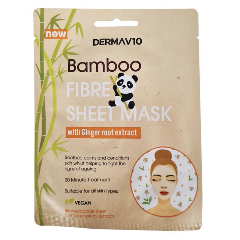 DermaV10 Bamboo Fibre Ginger Sheet Mask