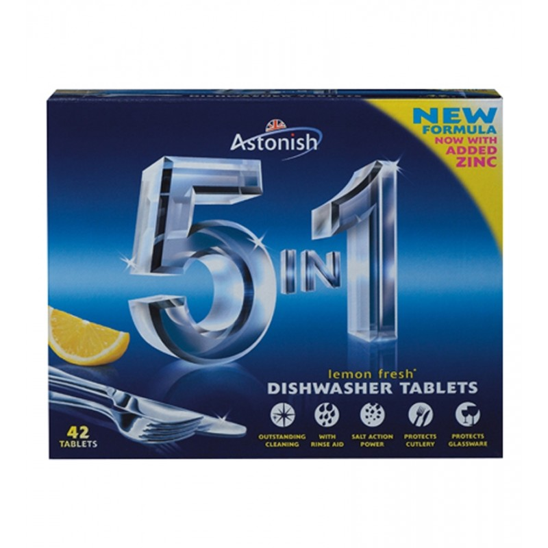 Astonish 5 in 1 Dishwasher Tablets Lemon