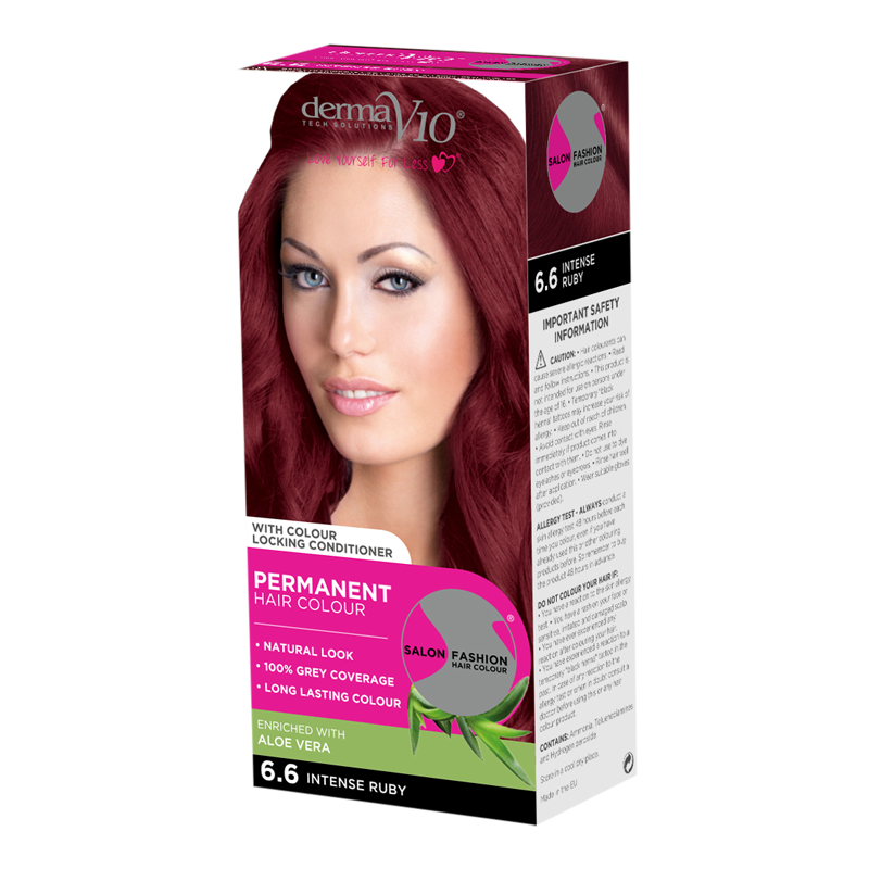 DermaV10 Salon Fashion Hair Colour Intense Ruby