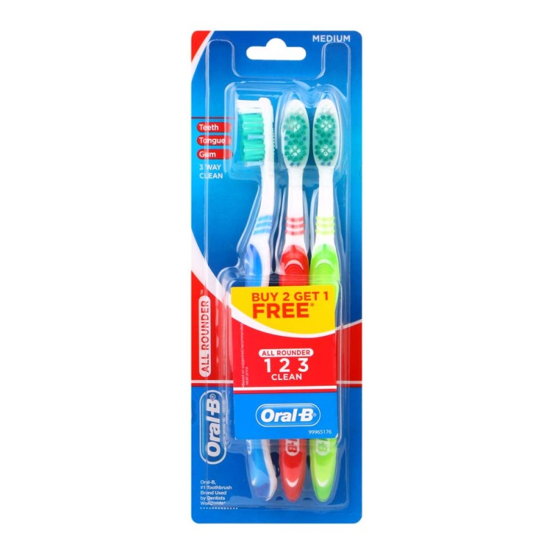 Oral-B All Around Clean Medium Tandbørste 3 Pak