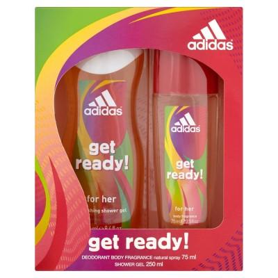 Image of   Adidas Get Ready! Perfumed Deospray & Showergel Set For Women 75 ml + 250 ml