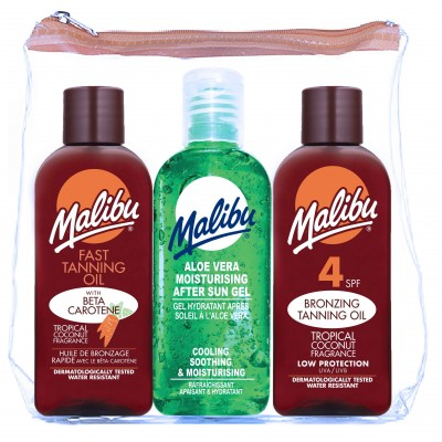 Malibu Travel Sun Set Tanning Oil & Bronzing Oil & After Sun Gel 3 x 100 ml