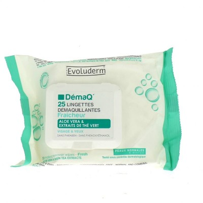 Evoluderm Make Up Remover Normal Skin Cleansing Wipes 25 stk