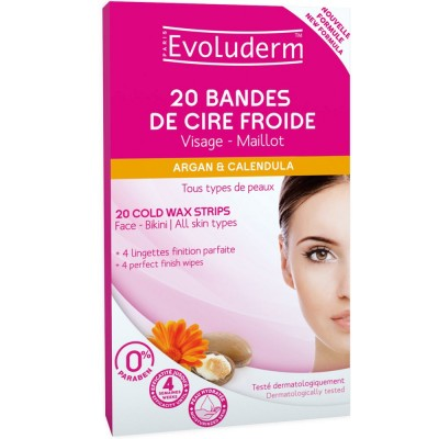 Evoluderm Shea Butter Cold Wax Strips For Face & Bikini 20 pcs