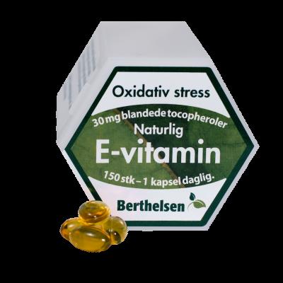 Berthelsen E-vitamin + Tocopheroler 30 mg 150 kapsler