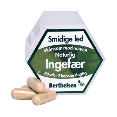Berthelsen Ren Ingefær 400 mg 60 kapsler