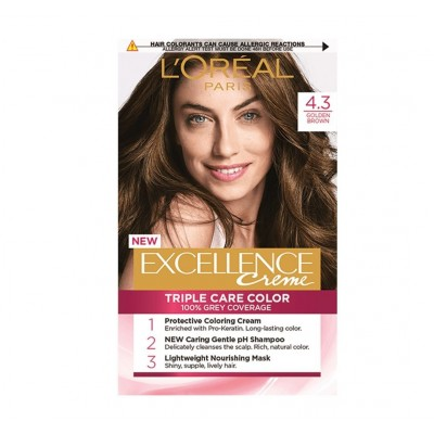 L'Oreal Excellence Creme Hair Color 4.3 Golden Brown 1 stk