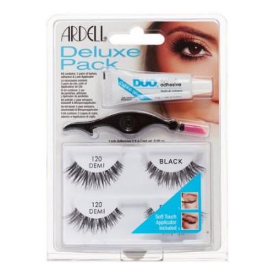 Ardell Eyelash Deluxe Pack 120 Demi Black 2 par + 2,5 g + 1 st