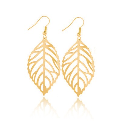 Everneed Siv Leaf Earring Gold 4,5 cm