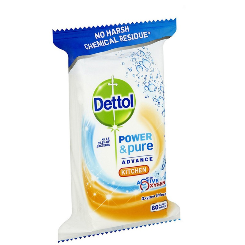Kitchen Cleaning Wipes: Dettol Power & Pure Kitchen Cleaning Wipes 80 Pcs