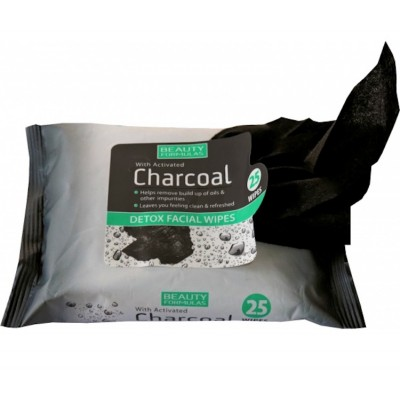 Beauty Formulas Charcoal Detox Facial Wipes 25 stk