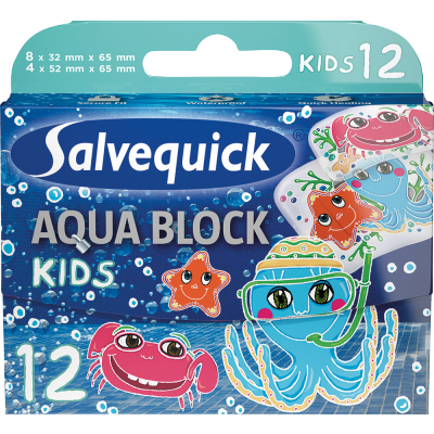 Salvequick Aqua Block Kids 12 stk