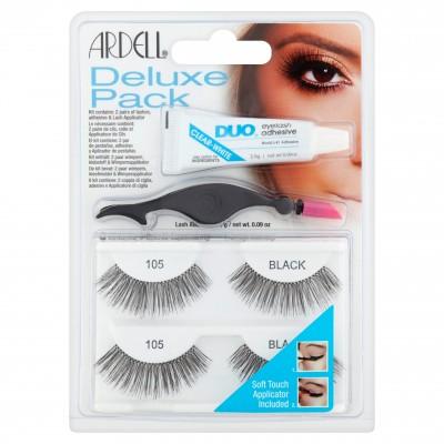 Ardell Eyelash Deluxe Pack 105 Black 2 paar + 2,5 g + 1 st