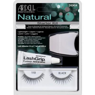 Ardell Natural False Eyelashes Starter Kit 110 Black 1 Paar + 2,5 g + 1 stk