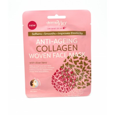 DermaV10 Anti-Ageing Collagen Woven Face Mask 1 st