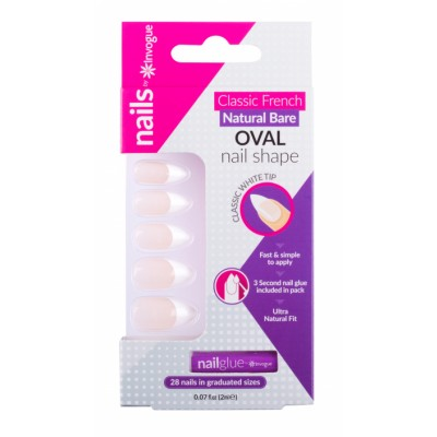 Invogue Classic French Oval Nails Natural Bare 24 kpl