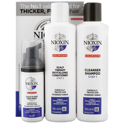 Nioxin Starter Set System 6 For Frizzy Untreated Noticeably Thinning Hair 150 ml + 150 ml + 40 ml