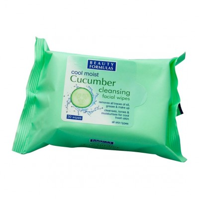 Beauty Formulas Cool Moist Cucumber Cleansing Wipes 30 st