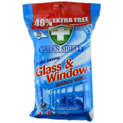 Green Shield Quick Drying Glass & Window Surface Wipes 70 kpl