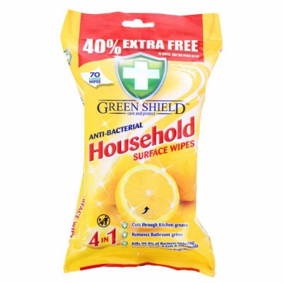 Green Shield Anti-Bacterial Household Surface Wipes 70 kpl