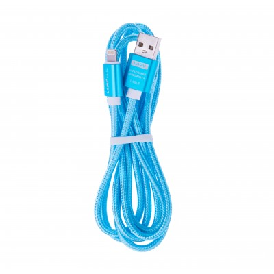 BasicsMobile Fabric Lightning & USB Cable Blue 1,5 meter