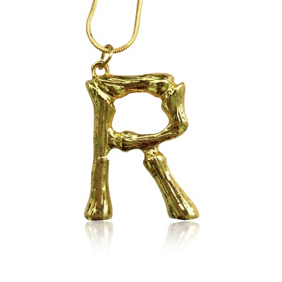 Everneed Gold Finish Bamboo Letter Necklace R 49 cm