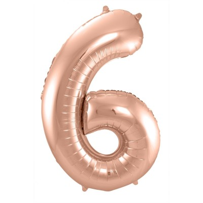 BasicsHome Foil Balloon Rose Gold No. 6 100 cm