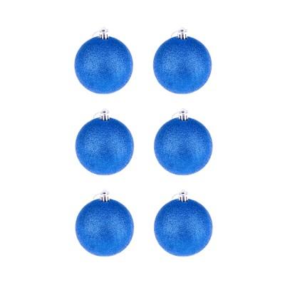 BasicsHome Christmas Ball Ornaments Metallic Blue 8 cm 6 pcs