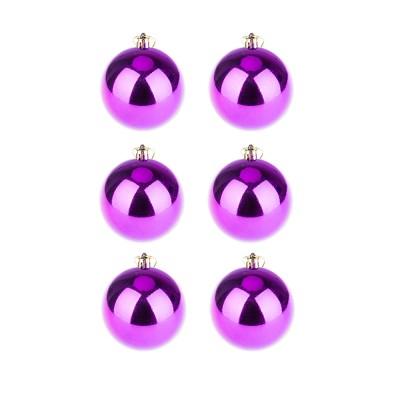 BasicsHome Christmas Ball Ornaments Shiny Purple 8 cm 6 pcs