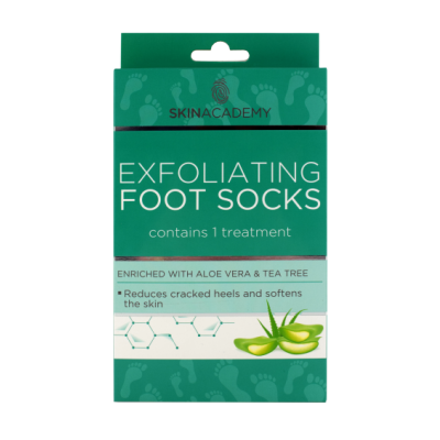 Skin Academy Exfoliating Foot Socks Aloe Vera & Tea Tree 1 pari
