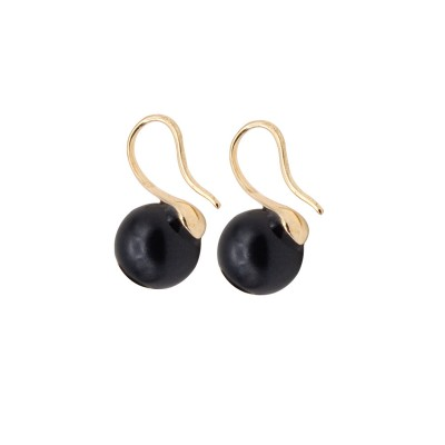 Everneed Fiona Black Pearl Gold Finish Earrings 1,5 cm + 8 mm