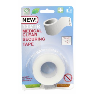 A&E Clear Medical Securing Tape 10 meter