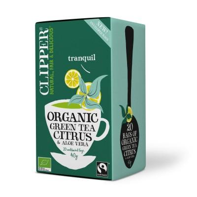 Clipper luomu vihreä tee & sitruuna & aloe veera 20 kpl