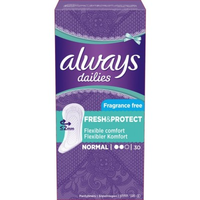Always Dailies Fresh & Protect Pantyliners Normal 30 stk