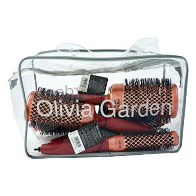 Olivia Garden Heat Pro Ceramic + Ion Brushes & Bag 4 pcs