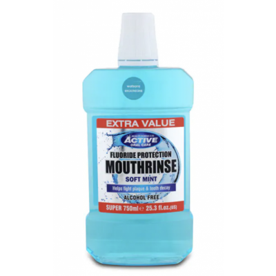 Active Oral Care Fluoride Protection Soft Mint Mouthwash 750 ml