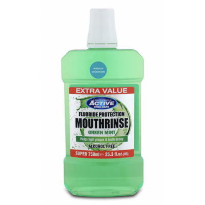 Active Oral Care Fluoride Protection Green Mint Mouthwash 750 ml