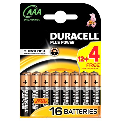 Duracell AAA Duralock Plus Power 16 kpl