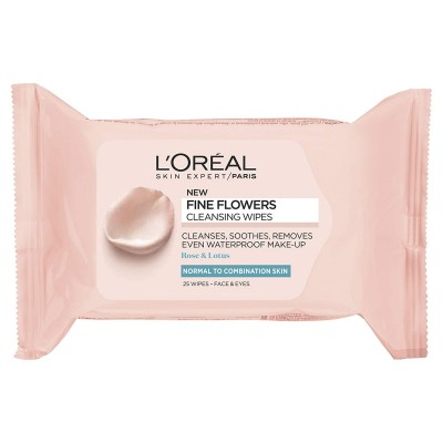 L'Oreal Fine Flowers Normal to Combination Skin Rose & Lotus Cleansing Wipes 25 st