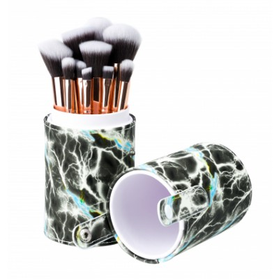 Basics Makeup Brush Set Grey Marble 12 stk