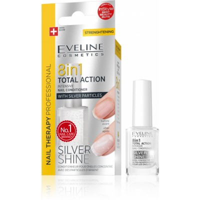 Eveline Nail Therapy 8in1 Total Action Conditioner Silver Shine 12 ml