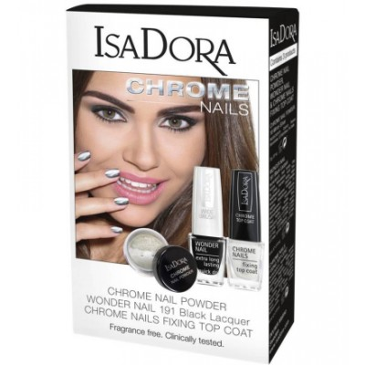 Isadora Chrome Nail Powder Powder, Mirror & Top Coat 2 x 6 ml + 2 g