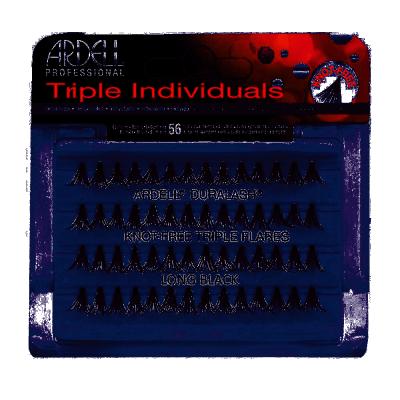 Ardell Triple Individuals Knot-Free Triple Flares Long Black 56 pcs