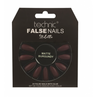Technic False Nails Stiletto Matte Burgundy 24 kpl